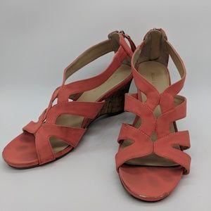 Coral back zip wedge sandals